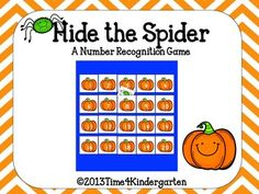 Hide the Spider: A Number Recognition Game (from Tiffani Mugurussa on TpT)