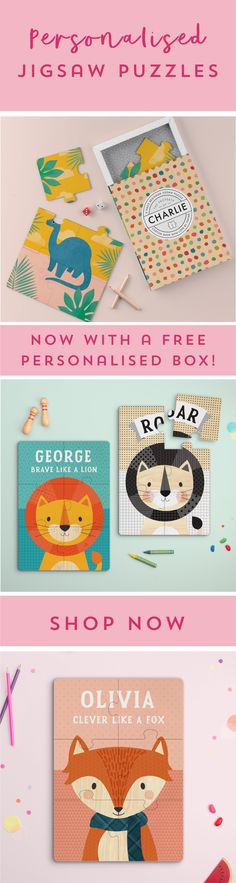 Tinyme Jigsaws now with a FREE Personalised Box. Personalized Gifts For Kids, Personalised Box, Personalized Products, Gifts For Boys, Dinosaurs, Jigsaw Puzzles, Clever, Cute, Personalised Gifts For Children