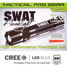 The exceptionally popular, Heavy Duty Tactical SWAT Flashlight has 120 Lumens with 3 hours of run time, SOS Signal, Intelligent AD Control Chip, Rechargeable Lithium Ion Battery, and much, much more!