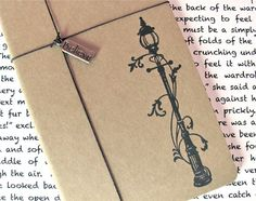 Narnia Lamp-post - Hand Stamped Small Moleskine Notebook with Believe Charm - Design A - Available in BLANK or LINED Pages