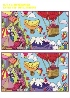 jeu des 7 erreurs à imprimer Spot The Difference Kids, Find The Difference Pictures, Craft Activities For Kids, Preschool Activities, Hidden Words, Hidden Pictures, Hidden Objects, Activity Sheets, Learn French