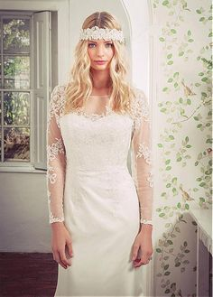 Fabulous Tulle & Satin Scoop Neckline Sheath Wedding Dresses with Beaded Lace Appliques
