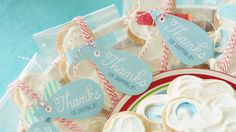 RAINDROP TREAT TAGS: You can't have a shower without raindrops!  Send your baby shower guests home with fond memories and treats decorated with our raindrop treat tags. Cloud cookie recipe and treat tag templates included.