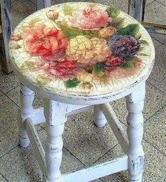 Love to have several of these vintage-look, decoupaged stools around the house - I'm short and I stand on everything.