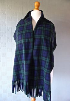 blue and green tartan plaid pashmina big by Scarvestorock on Etsy