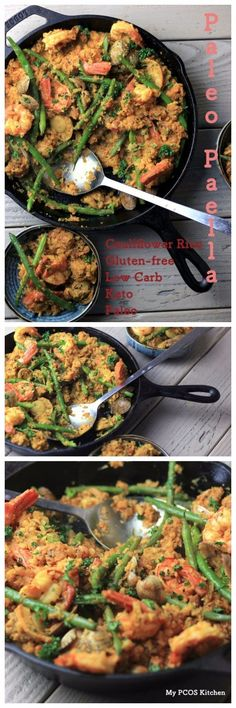 My PCOS Kitchen - Keto Paleo Paella with Cauliflower Rice - A gluten-free dairy-free and low carb version of the popular Spanish Paella Healthy Gluten Free Recipes, Low Carb Recipes, Diet Recipes, Cooking Recipes, Ketogenic Recipes, Ketogenic Diet, Vegan Recipes, Supper Recipes, Whole Food Recipes