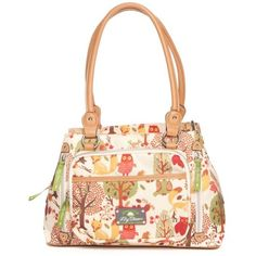 Lily Bloom Forest Owl Maggy Satchel ($48) ❤ liked on Polyvore featuring bags, handbags, forest owl, owl purse, plastic handbags, lily bloom, owl print purse and lily bloom handbags
