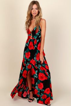 Rose N' Shine Print Maxi Dress Black/Red A lovely floral printed maxi dress  with a cut out detail on a v-cut neckline, an open back with a tie detail  and a ...