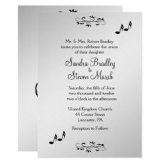 "Guitar Theme Wedding Invitation  5"" x 7"" - invitations personalize custom special event invitation idea style party card cards"