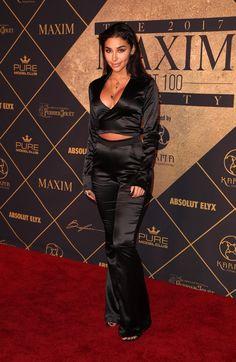 Chantel Jeffries – Maxim Hot 100 Party in Los Angeles - Celebrity Nude Leaked! Black Wide Leg Trousers, Chantel Jeffries, Satin Jumpsuit, Hottest 100, Silk Pants, Celebs, Celebrities, Blouse Dress, Pretty People