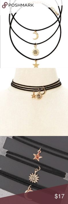 Boho Choker Charm Necklaces Brand new boutique item. Comes with all 3 necklaces. On a faux suede cord with adjustable length and lobster clamp. Jewelry Necklaces