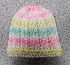 The Jack and Jill Baby Hat Pattern makes a simple hat with soft ridges and stripes. It is a great pattern to make for any baby in any color of the rainbow. Baby Hat Knitting Patterns Free, Baby Hat Patterns, Baby Hats Knitting, Free Knitting, Crochet Patterns, Knitted Baby Beanies, Knit Baby Booties, Knitted Hats, Baby Knits