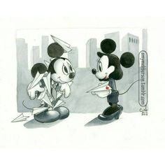 Mickey and minnie paperplane?