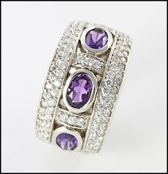 9ct White Gold Amethyst and CZ Dress Ring