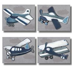 Boys Taking Flight Nursery Bedding Art For Kids Baby Boy Room Set Of 4 Paper…