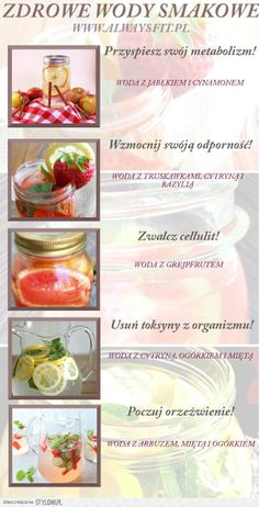 Zdrowe wody smakowe Good Healthy Recipes, Clean Recipes, Raw Food Recipes, Healthy Food, Healthy Water, Health Eating, Health Diet, Healthy Mind And Body, Healthy Life