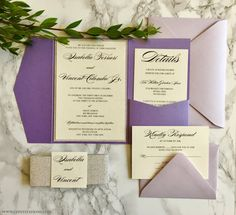 Purple and Silver Glitter Pocket Wedding Invitation. Choose from our 10 shades of purple when designing your invitations!