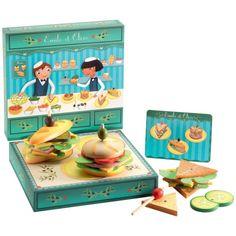Kinderküchen Zubehör, Sandwichbar Emile & Olive, aus Holz, von Djeco