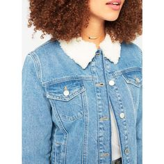 Miss Selfridge Blue Borg Collar Denim Jacket ($68) ❤ liked on Polyvore featuring outerwear, jackets, denim, blue jean jacket, miss selfridge, oversized jean jacket, jean jacket and denim jacket