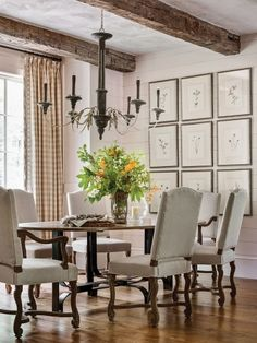 35 Best French Country Dining Room Design - Sitting in the small cafe in the French countryside, it suddenly hits you. Between inhaling the fresh air from the open French fields and sipping at y. Cottage Dining Rooms, Dining Nook, Dining Room Design, Dining Table, Living Rooms, Ceiling Decor, Ceiling Beams, Ceilings, Mountain House Decor
