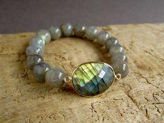 Blue Labradorite Bracelet Beaded Stretch by julianneblumlo on Etsy, $68.00
