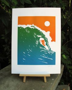 Handmade Letterpress Riding the Wave Print by modernoptic on Etsy, $50.00