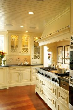white cabinets with yellow glaze inside; soapstone counters, stainless appliances and wood floors