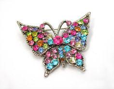 Pastel Rhinestones Butterfly Brooch Silvertone Setting