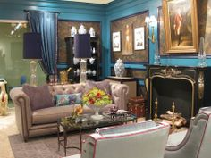 Stanley Furniture Meets Woodson & Rummerfield At High Point Market, Blue walls. Interior Design Blogs, Top Interior Designers, Furniture Showroom, Furniture Stores, Stanley Furniture, Home And Living, Living Room, Furniture Removal, Cheap Furniture