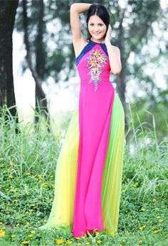 Love the colors in this ao dai