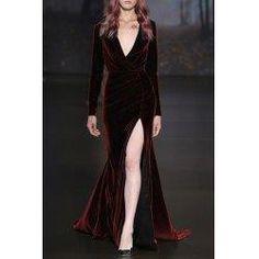 trendsgal.com - Trendsgal Cross Over Collar Long Sleeve High Slit Velvet Prom Dress - AdoreWe.com