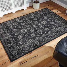 Nyla Rugs are machine woven in Egypt with a 100% Viscose pile offering a subtle sheen that looks very elegant. This stunning Traditional design looks stunning in Black.