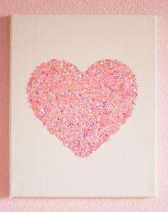 Valentine's Day DIY Canvas Heart Art – Design Improvised – Valentinstag Glitter Room, Glitter Wall Art, Glitter Crafts, Glitter Canvas, Glitter Wallpaper, Glitter Uggs, Glitter Walls, Glitter Wine, Glitter Shoes