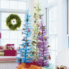 Try something new with mini trees in fun, beachy colors.