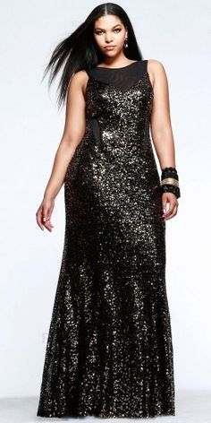 """Beautiful dress; not that I ever go anywhere to wear it, but still...""""Plus Size Sequined Gown - Plus size party dress"""""""