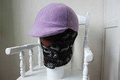 Winter Helmet Cover deer print knit purple by TheStitchingHorse
