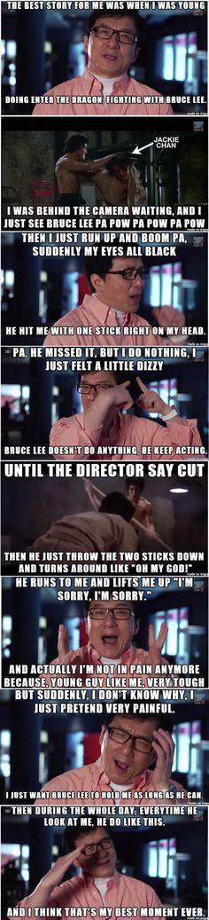 And that, folks, is how Jackie Chan became a star by making Bruce feel really guilty.....Gotta love him! :D