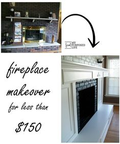 inexpensive-fireplace-makeover How to update an old brick fireplace with some lumber and paint. I'm so glad I did this brick fireplace makeover. It looks so much fresher now. Tall Fireplace, Brick Fireplace Makeover, Shiplap Fireplace, Concrete Fireplace, Rustic Fireplaces, Farmhouse Fireplace, Fireplace Hearth, Marble Fireplaces, Fireplace Remodel