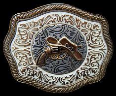 WESTERN COWBOY COWGIRL GUN HAT RODEO GOLDEN BELT BUCKLE Cool Belt Buckles, Rodeo Belt Buckles, Cowgirl Belts, Western Cowboy Hats, Western Belts, Western Wear, Cowboy Boots, Country Belts, Country Wear