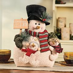 "Plush ""Let It Snow"" Snow Family - TerrysVillage.com"