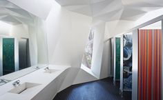 """The new restroom, dubbed the """"Loouvre,"""" was designed by Australia-based Coniglio Ainsworth Architects as part of a city-sponsored program to renew public spaces in Perth.   http://archrecord.construction.com/residential/kitchenbath/2012/Cultural-Centre-Amenities.asp"""