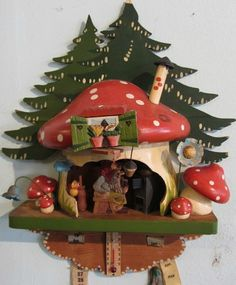 anri fantastically cool carved wood vintage gnomes house wall calendar ebay - Gnome House S Design
