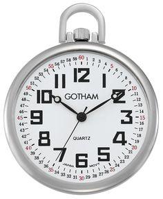 Gotham Men's Silver-Tone Ultra Thin Railroad Open Face Quartz Pocket Watch # Gotham Silver, Railroad Pocket Watch, Quartz Pocket Watch, Pocket Watch Antique, Open Face, Watch Companies, Silver Man, Watch Sale, Cool Things To Buy