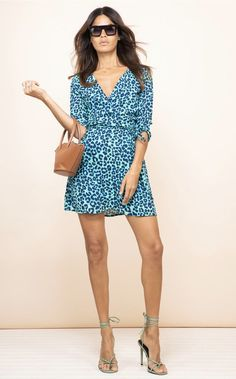 Looking for Mini Dresses? Call off the search with our Teagan Mini Dress In Turquoise Leopard. Shop unique fashion at SilkFred Blazer Dress, Shirt Dress, Event Dresses, Wrap Style, Unique Fashion, New Dress, Cool Girl, Wrap Dress, Fashion Dresses