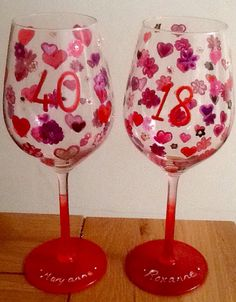 Special order personalised hearts and flowe wineglasses @kayceedesign.com