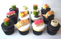 sushi cupcakes - no instructions but I bet you can find directions for candy sushi somewhere and then just place on cupcakes