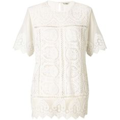 Miss Selfridge White Lace Scallop Tee ($26) ❤ liked on Polyvore featuring tops, t-shirts, ivory, miss selfridge, lace tops, white t shirt, lacy tops and scalloped lace top