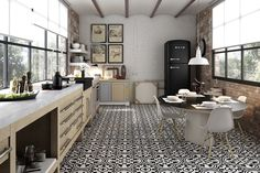 """HYDRAULIC Series - B&W colour - porcelain tiles - Italian porcelain - 12""""x12"""" forms a larger pattern - kitchen tiles - bathroom tiles - lobby tiles - feature wall http://cstile.ceramstone.com/products/rustic-classic/hydraulic-series/"""
