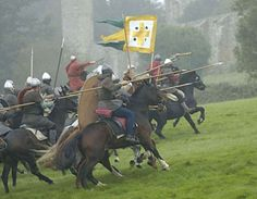 The knights of the Norman heavy cavalry, under Duke William the Conquerer, charge the English Army at the height of the Battle of Hastings. Medieval Knight, Medieval Armor, Medieval Fantasy, Larp, Norman Knight, High Middle Ages, Renaissance, Armadura Medieval, William The Conqueror