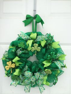 St. Patrick's Day Wreath by PiperGirlsFancies on Etsy, $65.00